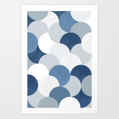Blue Circles Modern Art Print