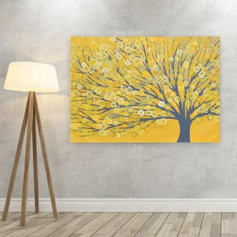 Yellow & Grey Tree Canvas